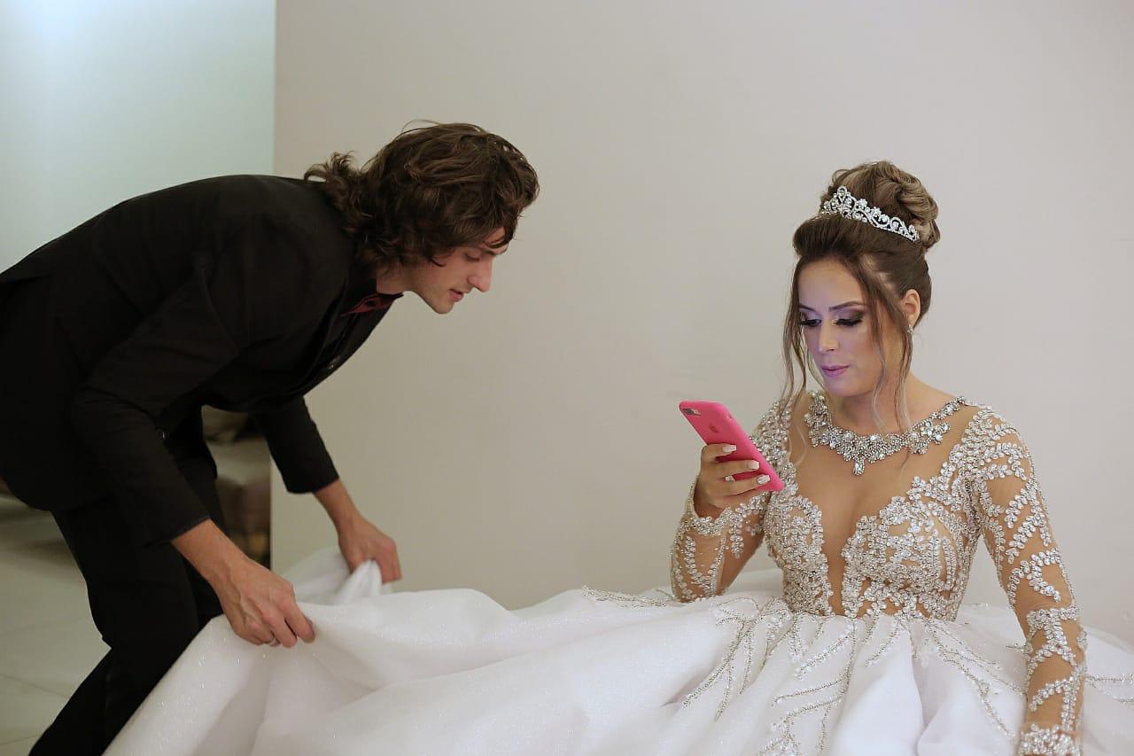 Cerimonialista Phillipe Hoffmann com a noiva Julie Ane